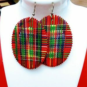 Colorful wood thread hook dangle earrings Red